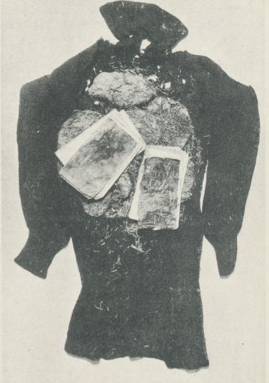 Ylletröjan vid Andrees lik med två anteckningsböcker inlindade i<bsenne-gräs; Andrées dagbok till höger.