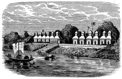 Tempel vid floden åt Shivas dyrkan.