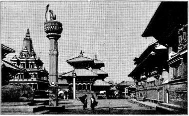 Palats och tempel i en stad å Himalaya.
