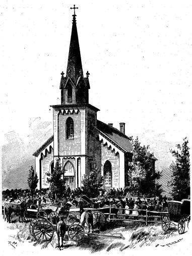 Vasa kyrka med kyrkfolk.