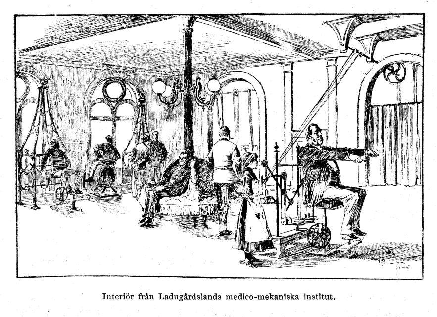 Interiör från Ladugårdslands medico-mekaniska institut.