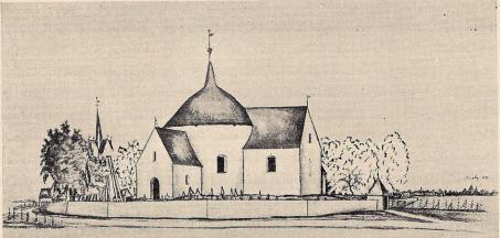 Fig. 12. Våxtorps rundkyrka. Till höger skymtar Hagby rundkyrka. — Pennteckning<bur N. I. Löfgren Calmar stift I. A.T.A.