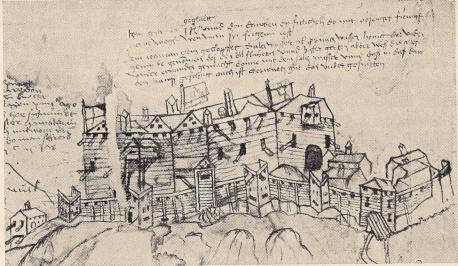 Fig. 23. Älvsborgs fästning 1502. Detalj ur samtida teckning i Weimars Staatsarchiv.