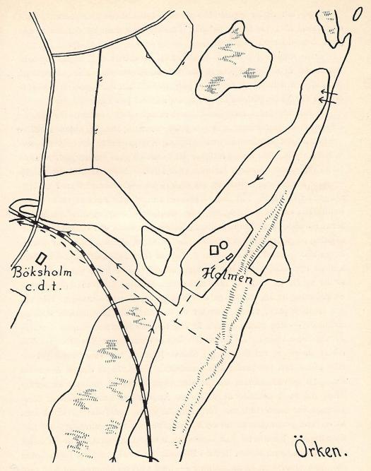 Fig. 26. Detalj ur karta över godset Böksholms sulfitfabrik, upprättad av forstmästare<bH. Larsson. Över H i »Holmen» äro medeltidslämningarna antydda.