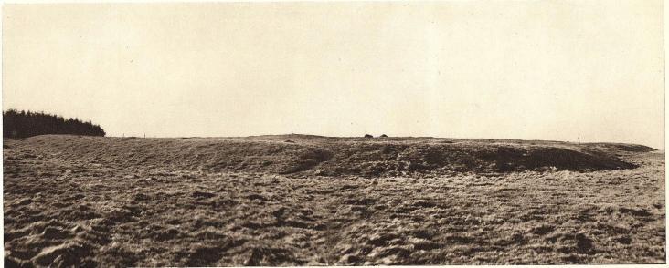 <bBorgvallen å Kungsmarken, 3 à 4 km. NO om Lund, sedd från söder. — Foto: Nils Olsson 1938.