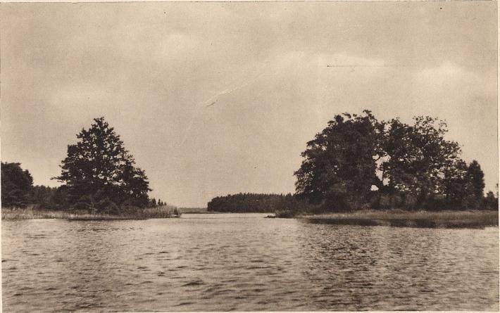 <bÅsnens utlopp, östra grenen av den (längre ned) s. k. Mörrumsån vid Blidingsholm. Till höger Kungsholmen, till vänster Eve holme,<bbåda med lämningar av medeltidshus, som bevakade det rika ålfisket.  Bilden tagen från söder.  Foto: P. G. Vejde 1938.