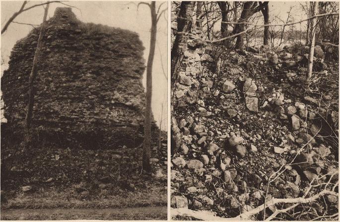 Till vänster den yttre sidan av rundborgen i Sölvesborg, där nederpartiet visar att den varit 12- eller 16-sidig i det yttre. Bilden<btill höger visar ruinens inre på motsatta sidan, där ännu 1804 en del av övermuren stod kvar (jmf. föregående bild). — Foto: B. Berthelson 1912.