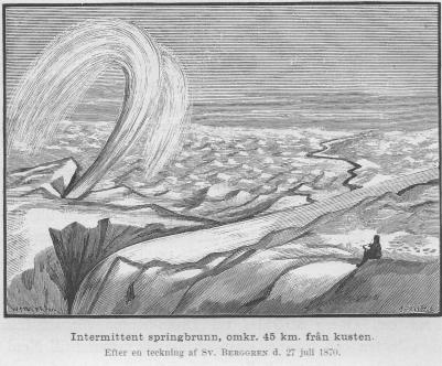 <smalIll. W. MEYER, X. A.O. Sörling</smal<bIntermittent springbrunn, omkr. 45 km. från kusten.<bEfter en teckning af <span class=