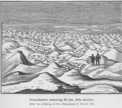 <smalIll. O. SörlingW. MEYER, X. A.</smal<bInlandsisen omkring 50 km. från kusten.<bEfter en teckning af <span class=
