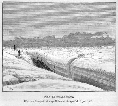 <smalIll. R. H.[=Haglund]W. MEYER, X. A.</smal<bFlod på inlandsisen.<bEfter en fotografi af expeditionens fotograf d. 9 juli 1883.