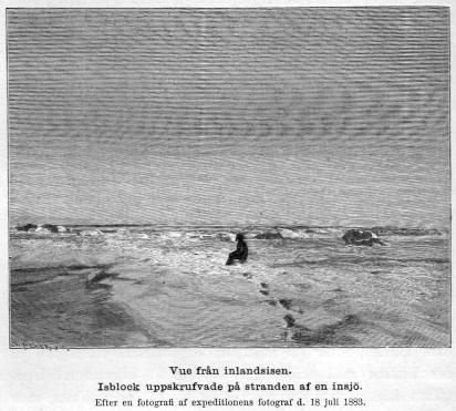 <smalIll. W. MEYER, X. A.</smal<bVue från inlandsisen.<bIsblock uppskrufvade på stranden af en insjö.<bEfter en fotografi af expeditionens fotograf d. 18 juli 1883.