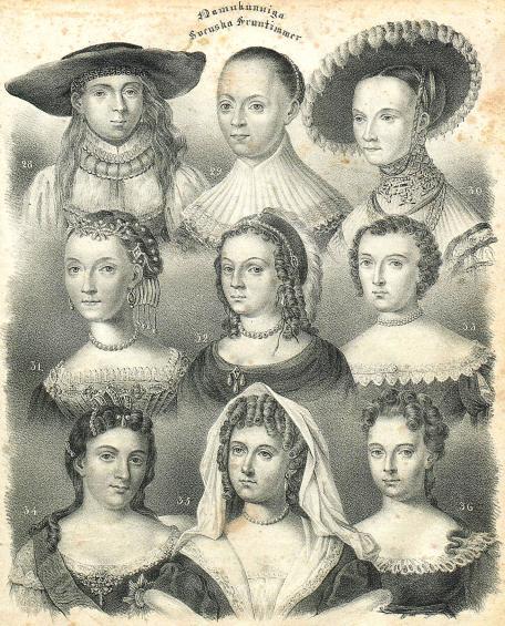 <bNamnkunniga Swenska Fruntimmer<b<b28.Drottn. Margaretha.<b<b29. Sigrid Baner.<b<b30. Margar. Ericsdotter Wase.<b<b31. Sigrid Ericsdotter Wase.<b<b32. Maria Euphros. de la Gardie.<b<b33. Catharina Carl IX<sus</su dotter.<b<b34. Kejsarinnan Catharina I.<b<b35. Ebba Brahe.<b<b36. Aurora Königsmark.<b