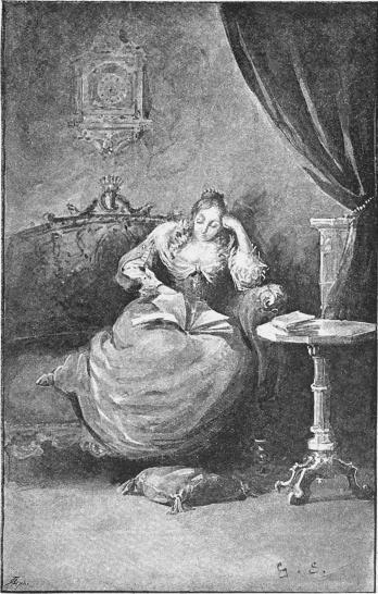 Ensam och tankfull satt Kristina, bläddrande i en handskrift.