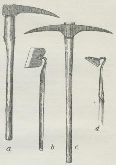 Fig. 1. a enkelt Spidshakke, b Hyppehakke,<bc dobbelt Spidshakke, d Roehakke.