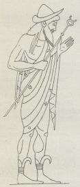 Fig. 1. Billede paa en<battisk Hydria fra 6. Aarh.<bf. Kr.