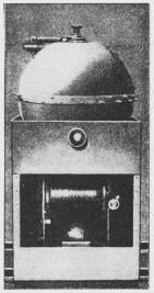 Fig. 1. Mekanisk selvvirkende<bStødmine med Ankerstol,<bindeholdende Tromle med<bAnkertov, Dybderegulator og Lod.