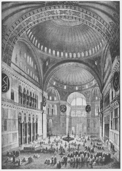 Det indre af Sofia-Moskéen (Konstantinopel).