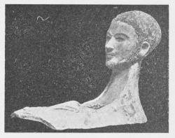 Maske af Cartonnage, maaske med Portrætlighed,<bfundet i en Grav i Mellemægypten. Fra Kejsertiden.<bGlyptoteket.