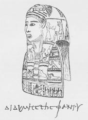 Fig. 2. Art Portræt af en Beboer af Ægypten i Kejsertidens Dage, i<bsort Skrift og ledsaget af det græske Navn, anbragt paa en Art Maske, der<bhar dækket en af Petrie i Havara fundet Mumie.