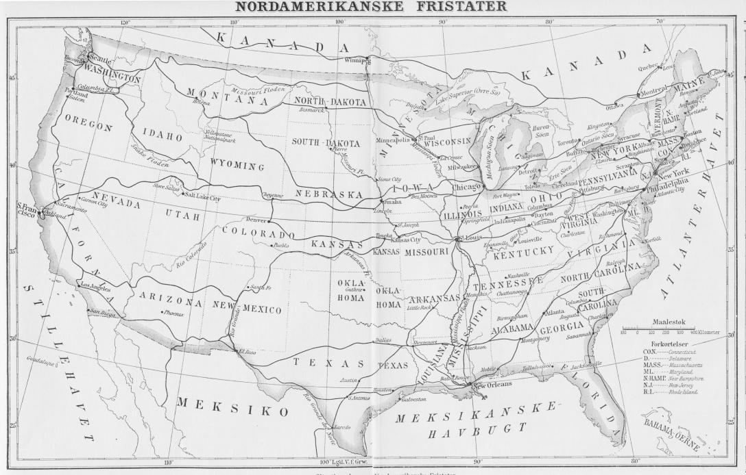 Situationsplan over Nordamerikanske Fristater.
