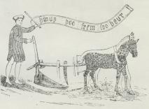 Fig. 2. Pløjescene (gammelt Kalkmaleri).