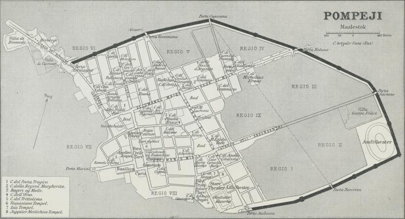 Situationsplan over Pompeji.