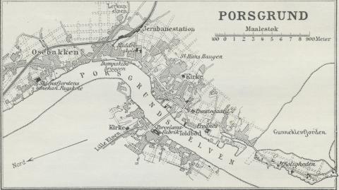 Situationsplan over Porsgrund.