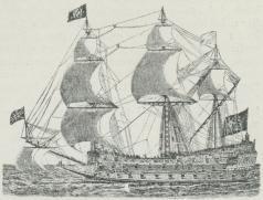 Fig. 3. Sejllinieskib fra Midten af det 17. Aarh.