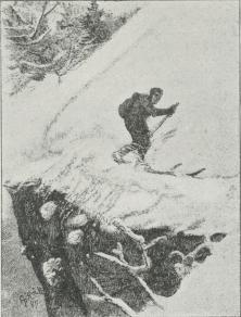 Fig. 5. »Bratstandsning for Stub«<b(Tegning af A. Bloch i »Paa Ski over Grønland«).