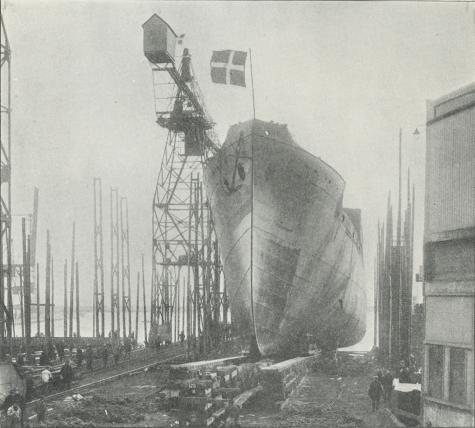 Fig. 13. Stabelafløbning af et Passagerdieselmotorskib.