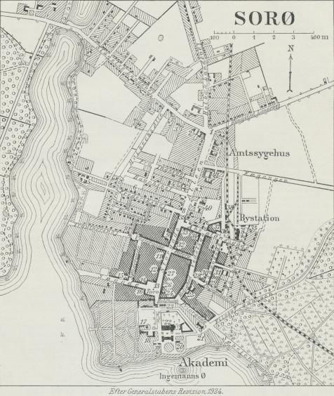 Situationsplan over Sorø.