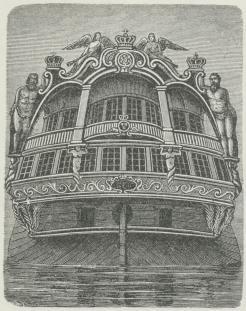 Orlogsskibet »Trekroner«'s Agterspejl (1742).