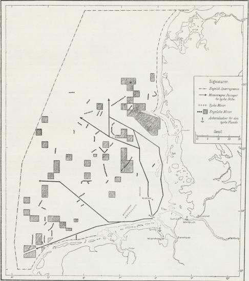 Fig. 9. Skitse af de engelske og tyske Minespærringer i Helgolandsbugten og de af Tyskerne minestrøgne Veje.