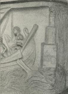 Antikt Fyrtaarn ved en Havn af lignende Udseende<bsom Fyrtaarnet Faros ved Alexandria. Fra Billedet<bpaa en antik Sarkofag Ny Carlsberg Glyptothek 787.