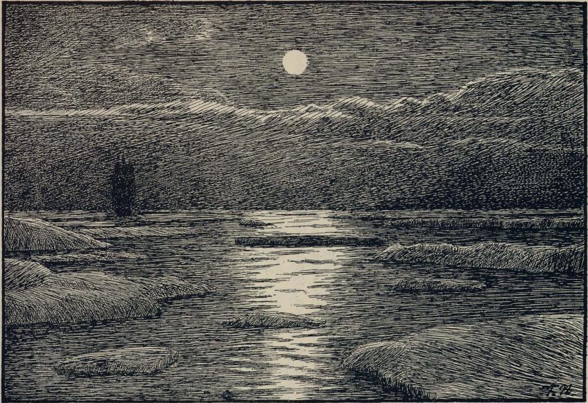 <smalIll. F.N.[=Fridtjof Nansen]</smal<bNatt i drivisen. (Efter skisse fra mars 1882).