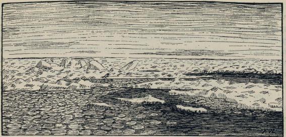 """<smalIll. F.N.[=Fridtjof Nansen]-82</smal<bKlare i drivisen, hvor """"tallerken-is"""" holler på å danne sig. Skisse 28. mars 1882."""