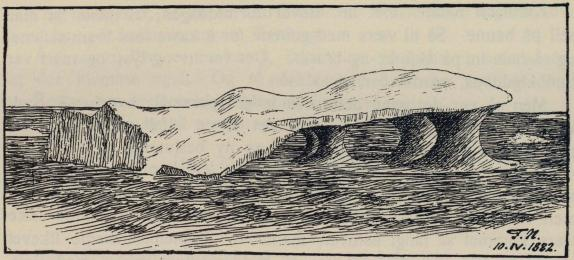 <smalIll. F.N.[=Fridtjof Nansen] 10.IV.1882.</smal<bKoss av hav-is, hulet ut av den varme sjøen. Skisse 10. april 1882.