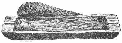 Ekkista, i vilken det av en yllekappa betäckta liket av en man från<bbronsåldern legat. Huvudet åt vänster. Trindhöi, Jylland.