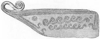 Tunn kniv av brons, sannolikt en rakkniv.  Skåne. <su1</su/<su8</su.