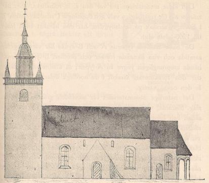 Fig. 6. Lekeryds kyrka vid 1800-talets mitt.<b(A-typen, tornet senare).