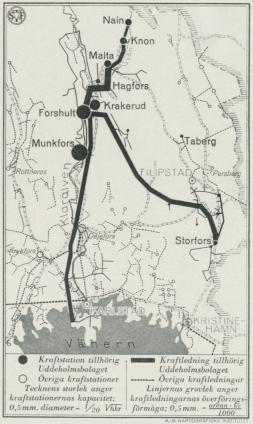Karta över Uddeholmsbolagets elektriska anläggningar<bi Värmland.