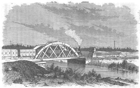 <biJernvägs-bro öfver Dylta-ån.</bi<b(Örebro-Arboga-Banan.)