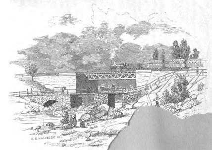 <smalIll. C. S. HALLBECK, del.</smal<b<biJernvägs-bro öfver Frövi-ån.</bi<b(Örebro-Arboga-Banan.)