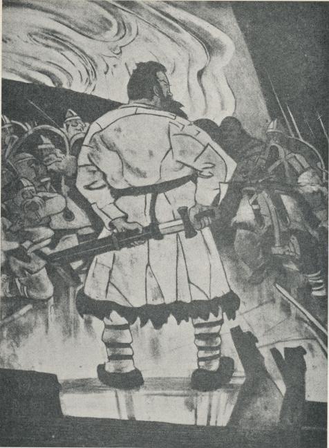 """Som ingen annan konstnär har Ossian Elgström mäktat levandegöra hjältar och makter<bur den nordiska fornvärldens saga och historia. Hans kantiga linjeföring har »en klang<bsom av svärdsslag och i sin rödbruna kolorit en doft av blod och hedendom». Den<bkraftfulla vikingagestalten här ovan är Erik Röde, som enligt sagan fredlös seglade västerut<bfrän Island år 982, fann Grönland, bosatte sig där och red i ättestupa omkr. år 1000. Det<bvar hans son, Leif Erikson, som ungefär samtidigt upptäckte Amerika, sagans """"Vinland»."""