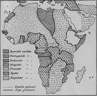 Karta I.  Afrika efter fördraget Tyskland-England 1914.<bEfter <span class=