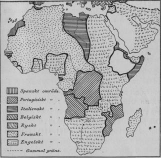 Karta III.  Afrika efter världskriget.<bEfter <span class=