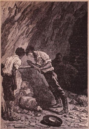 Pencroff försökte gnida två torra trästycken mot hvarandra (sid. 99).