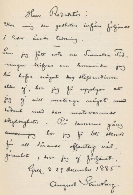Faksimile av ett Strindbergsbrev från 1880-talet