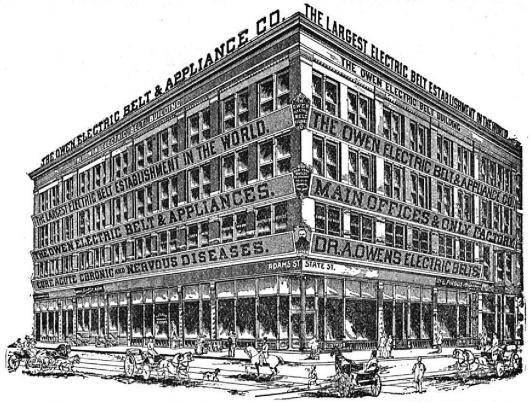 THE OWEN ELECTRIC BELT BUILDING, CORNER STATE AND ADAMS STREETS, CHICAGO, ILL.