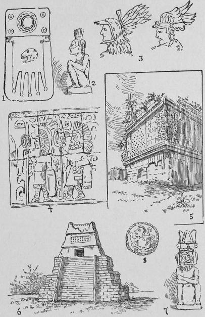 <biAtztekiska fornlämnmgar.</bi<b1, 2, 3, 4, 7. Skulpturer i sten. 5, 6, tempelruiner, 8. Atztekiskt mynt.